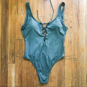 XHILARATION One piece lace up scoop back swimsuit